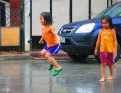Jumping in the rain.
