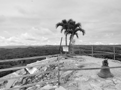 Even the viewing deck and bell of the Chocolate Hills were not spared by the earthquake.