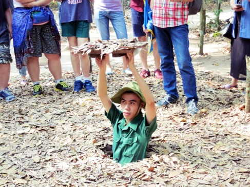 at the Cu Chi tunnels